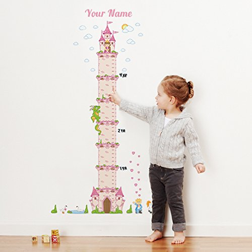 Fairy Tale Chart (Personalized Princess Castle Growth Chart Wall Decal for Nursery, Kids Room)