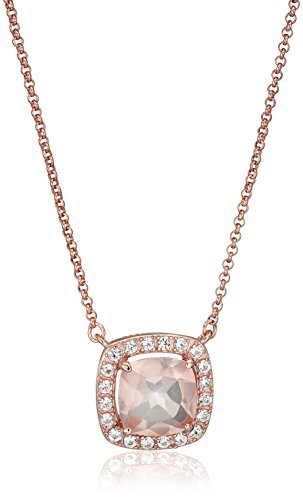 Rose Gold Plated Sterling Silver Cushion Rose Quartz 10mm and Created White Sapphire Halo Pendant Necklace, 18