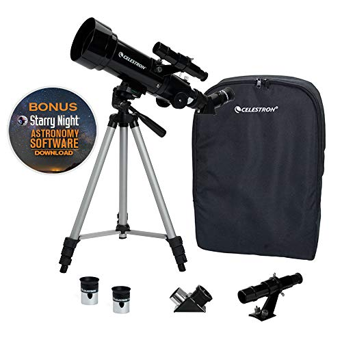 Celestron - 70mm Travel Scope - Portable Refractor Telescope - Fully Coated Glass Optics - Ideal Telescope for Beginners - BONUS Astronomy Software Package