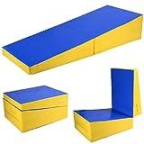Giantex Incline Gymnastics Mat Wedge Folding and Non-Folding Gymnastics Gym Fitness Skill Shape Tumbling Mat for Kids Play Home Exercise Aerobics (Blue/Yellow-70 X30 X15)