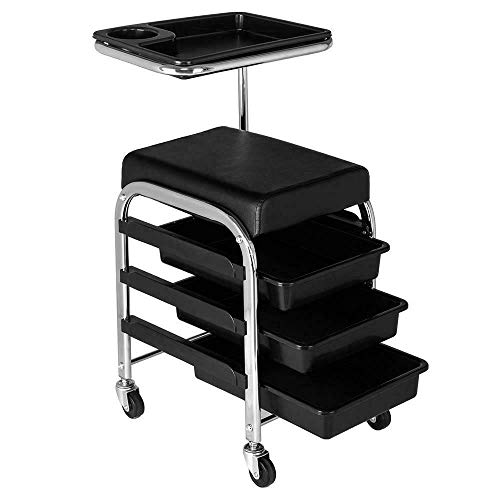SETMAG Portable Compact Black Pedicure Manicure Nail Cart Trolley Stool Chair Salon SPA with Shelves New Space Saver Accent