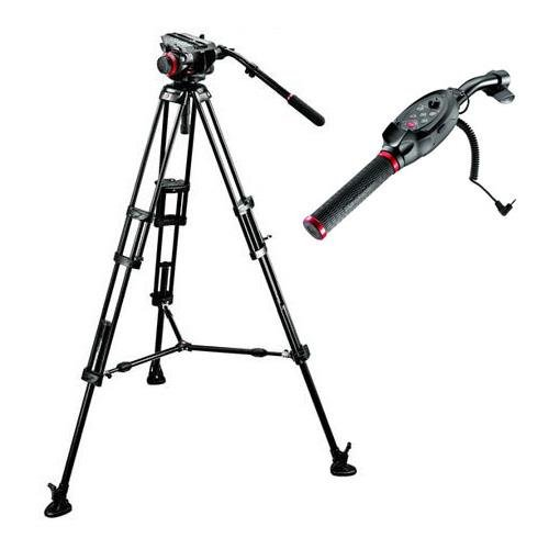 Manfrotto 504HD VD Fluid Video Head with 546B Aluminum Tripod Legs, Bundle - with RC Standard Pan Bar Ex Remote Control for LANC Sony & Canon Cameras, Black by Manfrotto (Image #3)