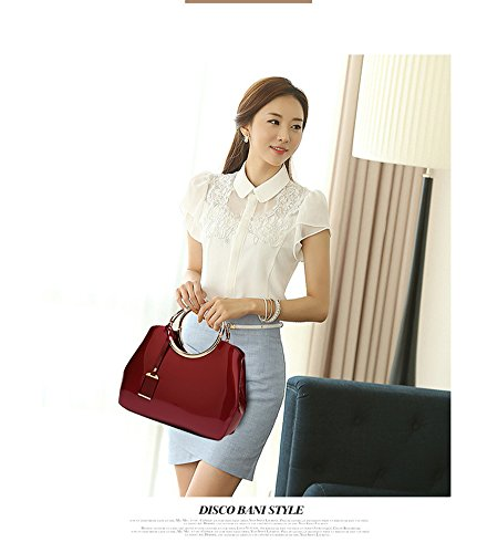 Show Women's bag Yan bag bag Messenger bag patent Red Wine shoulder shell hand New leather 4q5x7d5Bw