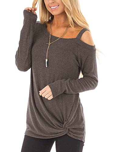 Women's Casual Tops Long Sleeve Blouse Cold Shoulder Side Twist Knotted Pullover T Shirt Women ()