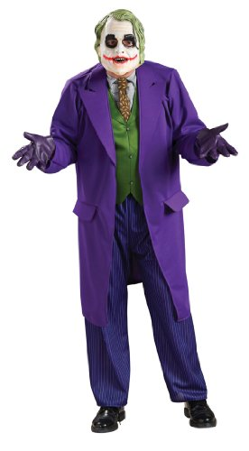 Batman Dark Knight The Joker Costumes (Batman The Dark Knight Deluxe The Joker Costume, Black/Purple, Plus Size)