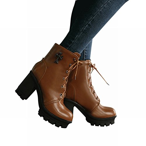 Carol Schoenen Fashion Dames Lace-up Metalen Cross Decoraties Combat High Heel Martin Boots Yellow