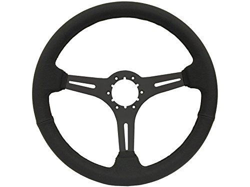 1963 -1982 GM Chevy Corvette, Black Leather Steering Wheel with Black Center, also fits Camaro, El Camino, Chevelle, Impala, Nova, Pickup Truck with wood wheel option (Wrapped Wheel Steering Leather)