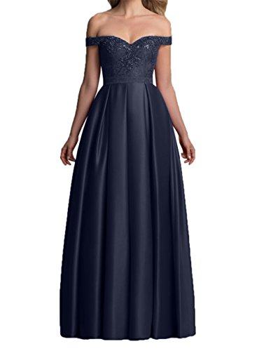 Damen Dunkel mit Dunkel Partykleider Kurzarm Rot Satin Abendkleider Brautmutterkleider Navy Langes Charmant Blau Festlichkleider d8PBxd