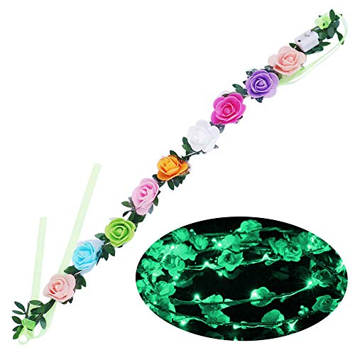 Baulody Solar Flower Outdoor Christmas String Lights 21ft LED Wedding Party Headband Fairy Flower Blossom Decorative Light for Indoor Garden Patio Party Xmas Tree Decorations (Multi-Color) (Green)