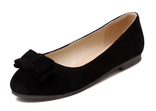 Allhqfashion Womens-toe No-heel Pu Solide Scarpe Da Ginnastica-scarpe Nere