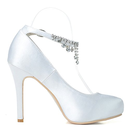 Shoes Szxf6915 Toe Wedding Women's Bridal Evening White Rhinestone Almond Crystals Sarahbridal Satin Court 01 Ankle Strap Prom q8w6g4A
