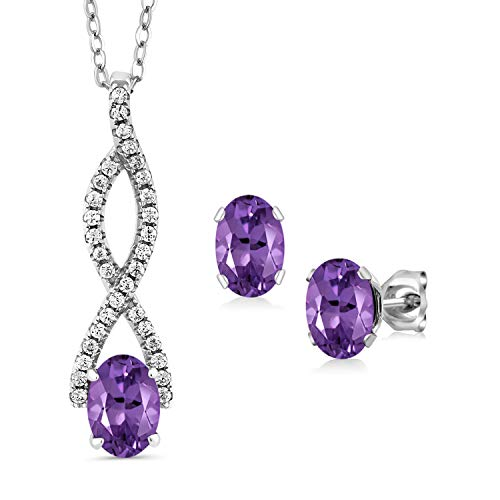 Gem Stone King 2.63 Ct Oval Purple Amethyst 925 Sterling Silver Infinity Pendant Earrings Set
