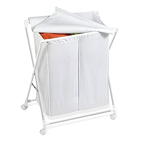 Honey-Can-Do HMP-01386 Rolling Laundry Sorter With Removable Bag, Two Bag - Hide Laundry Holder