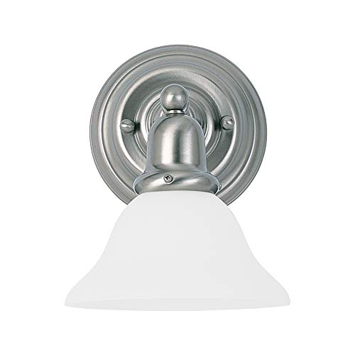Sea Gull Lighting 44060-962 Sussex Collection One-Light Wall Sconce, Brushed Nickel Finish with Satin White Glass