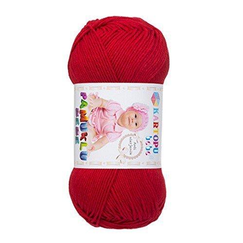 kartopu-pamuklu-bebe-100g-hypoallergenic-cotton-baby-yarn-red-k125