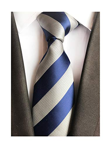 Secdtie Men's Classic Stripe Jacquard Woven Silk Tie Formal Party Suit Necktie (One Size, Blue&grey) -