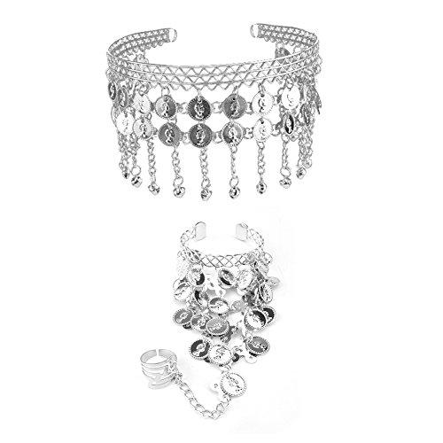 [TopTie Belly Dance Gypsy Jewelry Set, Gold Triangle Bracelet & Tribal Headband SILVER] (Ethnic Dance Costume)