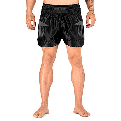 Elite Sports Muay Thai Shorts Kickboxing Muay Thai Shorts for Men & Women Gray