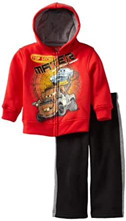 Disney Little Boys' Cars 2 Piece Fleece Set, Red/Black, 5