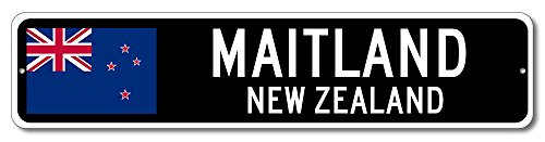 New Zealand Flag Sign   Maitland  New Zealand   Kiwi Custom Flag Sign   9 X36  Inches
