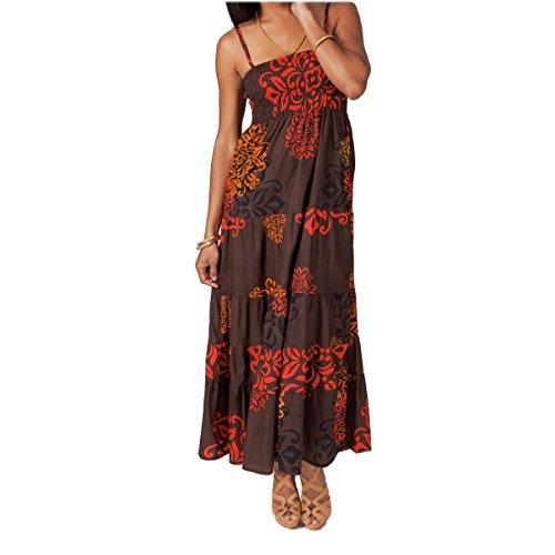 Robe Fines Orange Bretelles Imprime MOON LE Coton S M Longue Femme Choco ORANGE znBcqqaWE