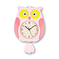 ufengke Pink Owl Bird Pendulum Wall Clock with Swinging Tail Large Children Wall Clocks for Bedroom, Creative Gift for Kids, Size:40x25cm