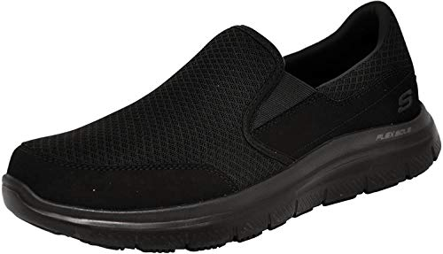Skechers Men's Black Flex Advantage Slip Resistant Mcallen Slip On - 7 D(M) US