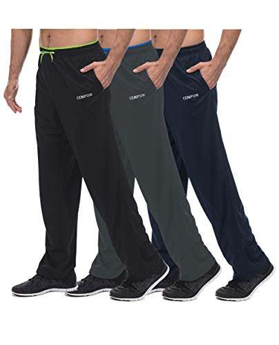 Men's Sweatpant with Pockets Open Bottom Athletic Pants,3 Piece, Jogging, Workout, Gym, Running, Hiking, Training, Set(Black,Gray,Navy Blue,XL) ()