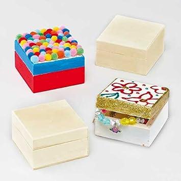 Cajas de madera para guardar recuerdos que los niños pueden decorar y exhibir u ofrecer como regalo (pack de 4).: Amazon.es: Juguetes y juegos