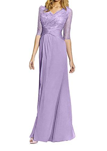 Partykleider Spitze Langarm Flieder Elegant Ballkleider Lilac Charmant Damen Abendkleider Brautmutterkleider Neu CwAqURnB