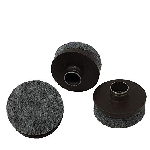 1 Dia. Heavy Duty Felt Nail-on Slider Glide Pads for Chairs, Stools, Tables - Furniture Slides Like Magic -Tile & Hard Wood Floor Protector - Espresso - 16 pcs.