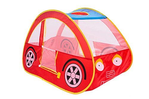 Red Play Tent - Play Kreative RED RACING CAR POP UP Play TENT – Pretend vehicle Kids Play house and carry Case. For outdoor/indoor child Playtime Activities. Great Birthday Gift for Children