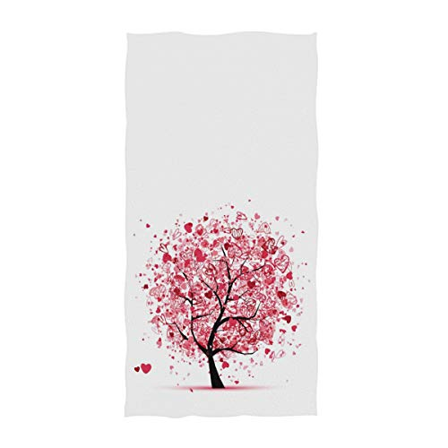 Naanle Chic Mother's Day Romantic Valentine's Day Wedding Cute Hearts Tree Guest Towel Soft Eco-Friendly Guest Hand Towels for Bathroom, Hotel, Gym and Spa (16