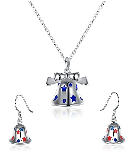 Youniker Christmas Earrings Necklace Set - Silver Plated Hypoallergenic Christmas Bell Drop Dangle Earrings Necklaces Jewelry Sets for Women Jewelry for Girls Kids Teens, Xmas (Blue)