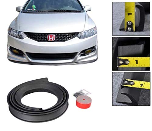 Front Bumper Lip Fits Universal Vehicles Black Spoiler Splitter Valance Fascia Cover Guard Protection Conversion by IKON MOTORSPORTS | 1997 1998 1999 2000 2001 2002 2003 2004 2005 2006 2007 ()