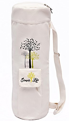 Simple Life 100% Cotton Stylish Exercise Yoga Mat Bag |Light Weight, Durable and Sturdy Full Zipper with Expandable Pocket | Multi-Functional Adjustable Strap| Fit Yoga Mat from 3mm to 12mm Thick by Simple Life