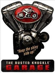 The Busted Knuckle Garage Vintage V-Twin Motorcycle Plasma Cut Metal Sign