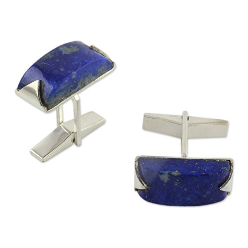 (NOVICA Lapis Lazuli Sterling Silver Men's Cufflink, Blue Intensity')