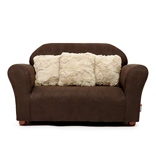 Keet Plush Childrens Sofa with Accent Pillows, Brown and Khaki (Sofas Brand Name)