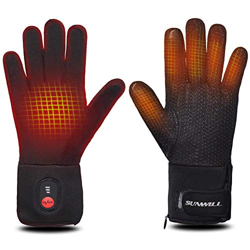 Sun Will Rechargeable Electric Battery Heated Riding Thin Gloves Liners for Men Women Hand Warmer Arthritis Raynaud's Unisex (Black-Updated, Large)