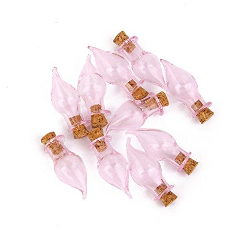 Lot de 10pcs Mini-flacons de Voeux Bouteilles en Verre Pendentif avec Bouchon de Liège Rose Chili