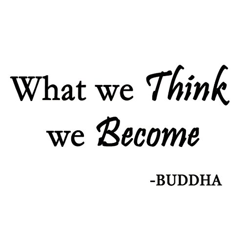 (VWAQ What We Think We Become Buddha Quote Wall Decal Saying Lettering)