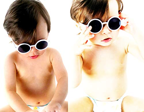 Kd3008 Baby Infant Toddlers Age 0~36 Months Round Retro Sunglasses (2-pack White) ()