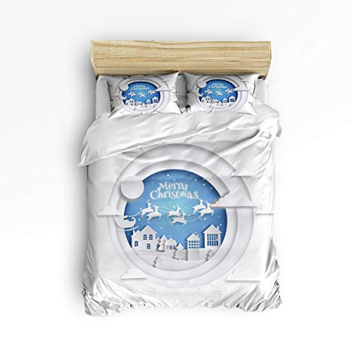 Anzona 4 Piece Bedding Set Queen Size, Santa on Sleigh Over a Romantic House 4 pcs Duvet Cover Set Bedspread Daybed Childrens/Kids/Teens/Adults