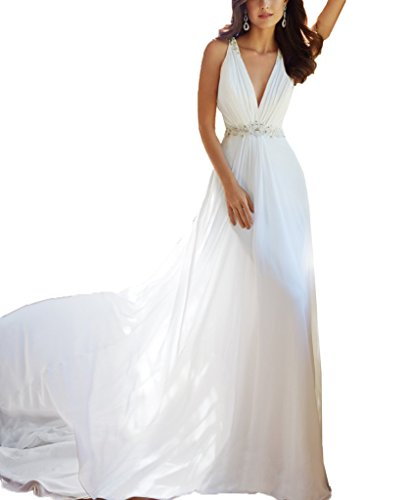 V Back Long Open Beading line DZdress Dress neck A White Women's Wedding Ywqt4