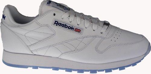 Reebok Mens Pelle Classico Ghiaccio Sneaker Bianco / Reebok Royal / Ghiaccio