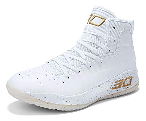COSDN Womens Mens Fashion High-Top Cool Basketball Shoes Breathable Youth Sports Running Sneakers Size 8/6.5 White