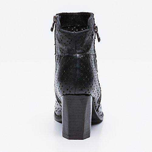 Femme Noir Bottes Sandales Bottine Bottines Taille 38 Femmes Couleur Ouvertes Pour Été Zerimar En Cuir SHqwxUwR8