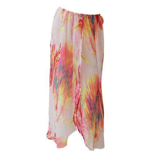 Womens/Ladies Fluorescent Splash Print Chiffon Maxi Beach Skirt (Small- US 8-10) (Splash Print Skirt)