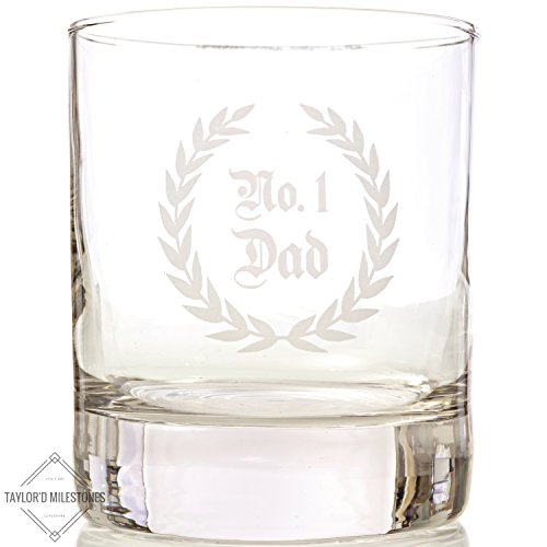 Taylor'd Milestones No. 1 DAD Scotch Glasses, 10 oz Whiskey Glass Set of 2, Diamond Etched Strong on the Rocks Tumbler